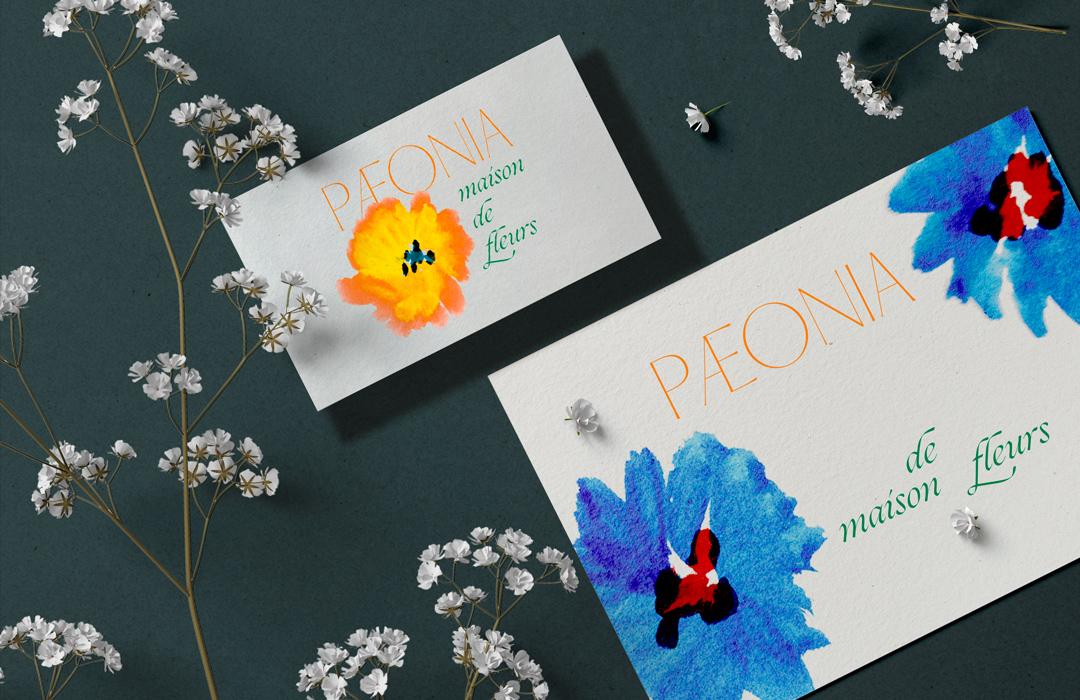 fleuriste paeonia maison de fleurs graphisme design affiche typo typographie communication visuelle logo yvonne et colette tours studio de creation graphiste freelance