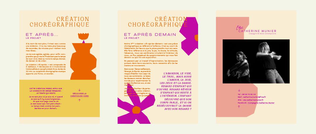 compagnie catherine munier danse création identité visuelle branding studio yvonne et colette site web webdesign